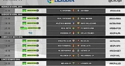Barcelona, Atl�tico y Real Madrid jugar�n el s�bado 30 de abril