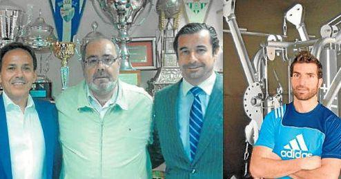 A la izquierda, Francisco Palacios (centro) acompa�ado a su derecha por Manuel Mu�oz y Jos� Luis Ojeda a su izquierda; a la derecha, Juan Velasco posa para ESTADIO en su gimnasio.