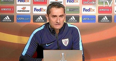 Valverde, en sala de prensa de San Mamés.