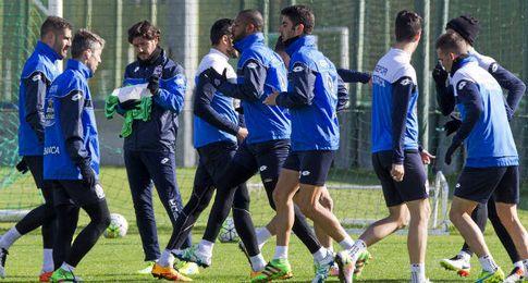 Entrenamiento del Deportivo, pr�ximo rival del Sevilla en Liga.
