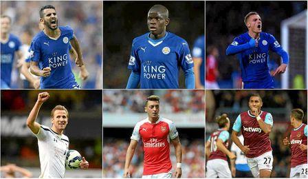 Mahrez, Kante, Vardy, Kane, Ozil y Payet.