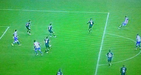 Captura de pantalla del fuera de juego en el gol de Isma López.