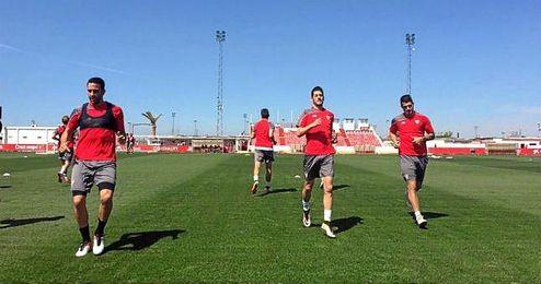 Rami, Escudero y Vitolo, en el entrenamiento de hoy.