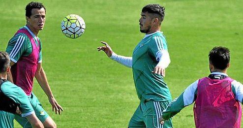 Vargas, durante un entrenamiento verdiblanco.
