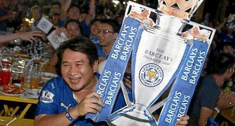 Aficionados del Leicester, celebrando el t�tulo.