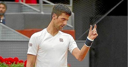 Djokovic durante un entrenamiento en la Caja Mágica.