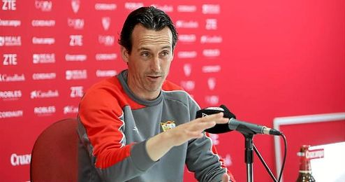 Unai Emery, técnico del Sevilla, en sala de prensa.
