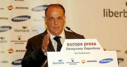Javier Tebas en el desayuno organizado por Europa Press.