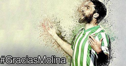 El club invita a los aficionados béticos a que se sumen a través de las redes sociales al tributo a Molina con el hashtag #GraciasMolina.
