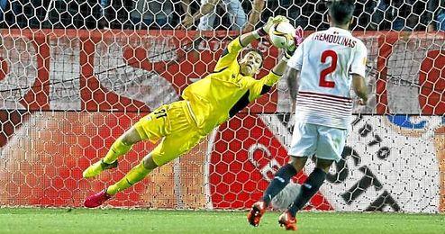 David Soria, en el partido de semifinales ante el Shakhtar.