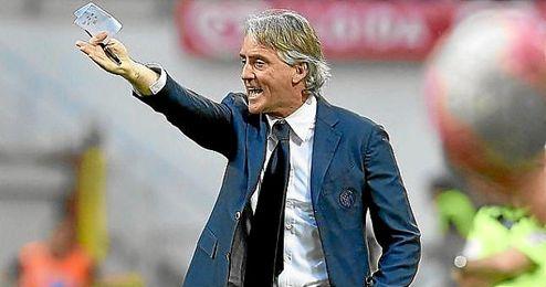 Roberto Mancini, durante un partido del Inter.