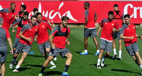 Entrenamiento de hoy del Sevilla FC.