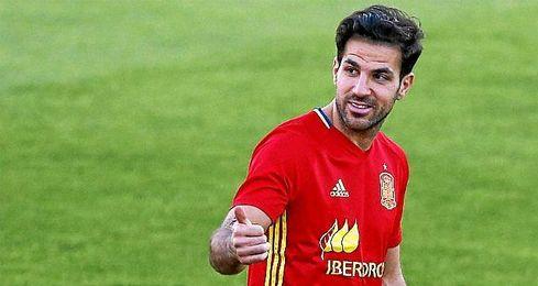 Cesc Fábregas durante un entrenamiento con la selección.