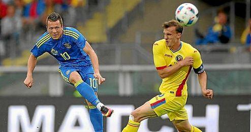 Konoplyanka, el líder de Ucrania en la victoria ante Rumanía.