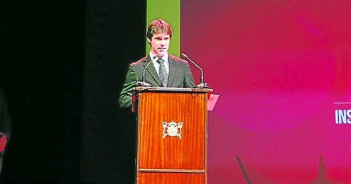 El delegado de Deportes del IMD, David Guevara, durante la reciente Gala del Deporte de Sevilla celebrada en el Lope de Vega.