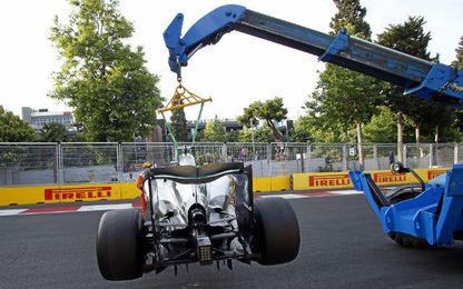 Así acabó el coche de Hamilton.