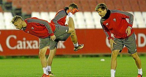 Immobile y Llorente, en un entrenamiento del Sevilla.