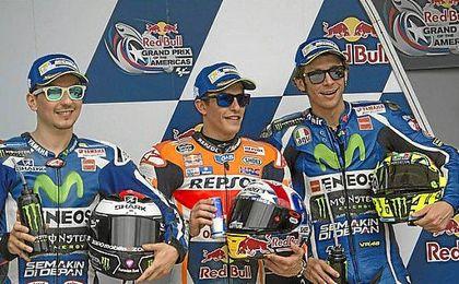 Lorenzo, Márquez y Rossi.