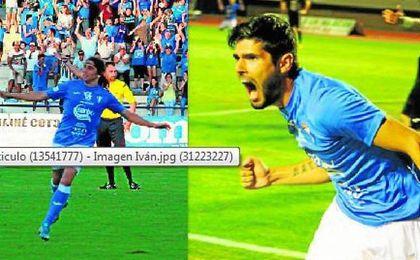 Iv�n y Francis celebran los goles que lograron ante el �guilas en Bah�a Sur
