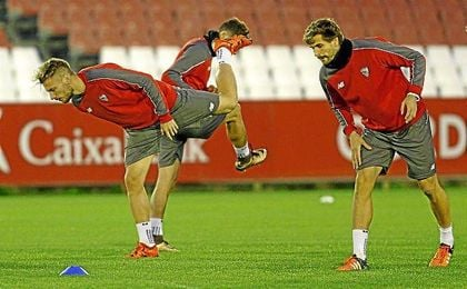 Immobile y Llorente, en un entrenamiento con el Sevillla.