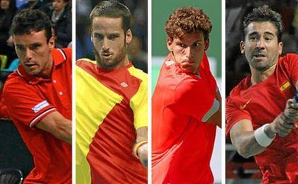 Roberto Bautista, Feliciano L�pez, Pablo Carre�o y Marc L�pez, equipo espa�ol ante Ruman�a.