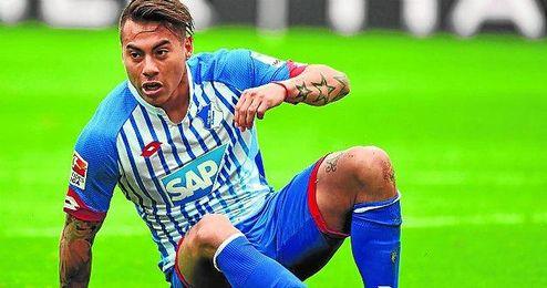 Eduardo Vargas, durante un partido con la el�stica del Hoffenheim alem�n.