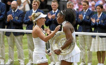 Angelique Kerber y Serena Williams, actuales n�mero dos y n�mero uno del tenis femenino mundial, respectivamente.