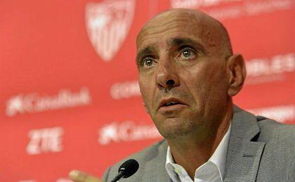 Monchi, en sala de prensa del Sánchez Pizjuán.