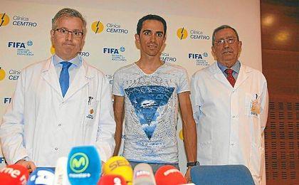 Contador, durante su rueda de prensa.