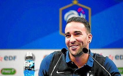Adil Rami, durante una rueda de prensa con Francia.