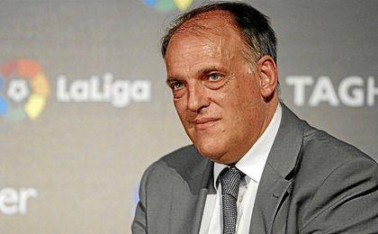 """Tebas señaló que """"lo importante"""" es que, tanto Neymar como Messi """"sigan en la Liga""""."""