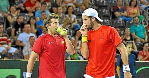 Marc López y Feliciano, en el partido de dobles.