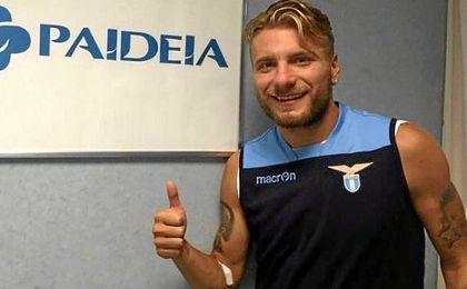 Immobile, durante las pruebas m�dicas con la Lazio.