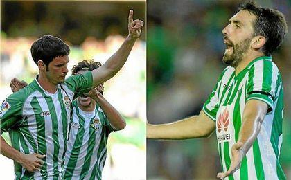 Melli y Jordi Figueras vistiendo la camiseta del Betis.