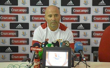 El técnico argentino, en sala de prensa.