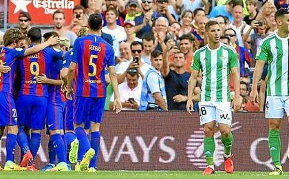 Cejudo, tras un gol del Barcelona.