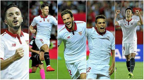 Sarabia, Vietto, Franco Vázquez, Ben Yedder y Kiyotake, los goleadores.
