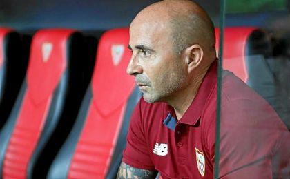 Sampaoli, antes del final del partido ante el Espanyol.