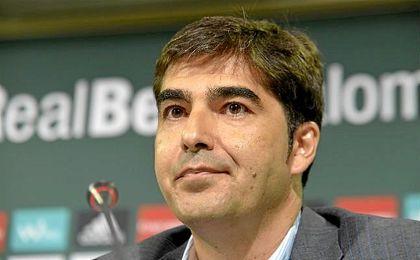 Ángel Haro, presidente del Betis, en sala de prensa.