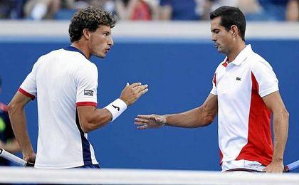 Carreño y García López celebran un punto durante el US Open.