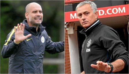 Guardiola-Mourinho, duelo de estilos en el primer derbi de Manchester.