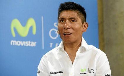 Nairo Quintana durante el acto de Telefónica.