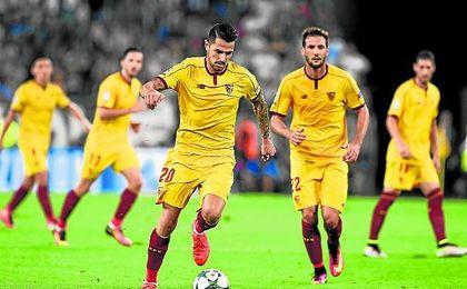 Vitolo, en el Juventus Stadium, durante el partido de Champions del pasado miércoles frente a la Juventus de Turín.