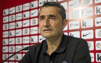 Ernesto Valverde en rueda de prensa.