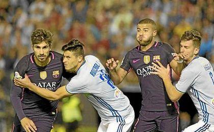 Los jugadores del Celta llevaron a cabo una asfixiante presión ante Barcelona.