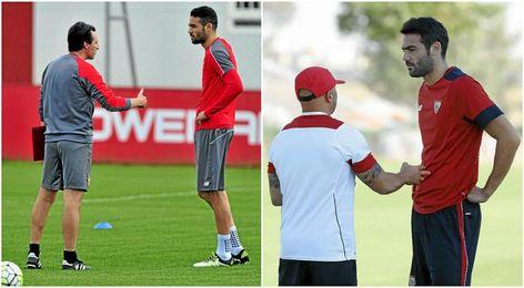 Iborra, con Emery la temporada pasada; y con Sampaoli, en la actual.