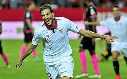 El ´Mudo´ celebra el gol que anotó ante el Espanyol.
