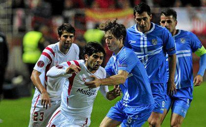 El Sevilla, frente al Rijeka en Europa League.