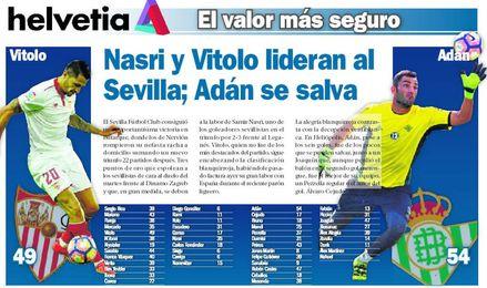 Nasri y Vitolo lideran al Sevilla; Adán se salva