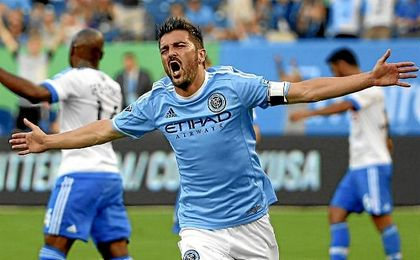 David Villa celebra un gol con la camiseta del New York City.